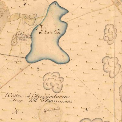 Utsnitt av karta från 1706 med namnet Gubbkärret.